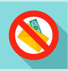 no money bribery icon flat style vector image