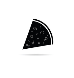 pizza slice black and white vector image vector image