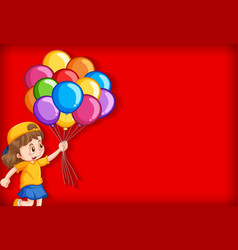 Plain background with happy girl and many balloons vector