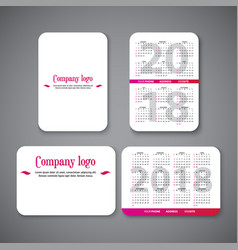 pocket calendar template vector image
