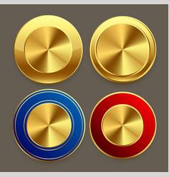 Premium golden metal circular buttons set vector