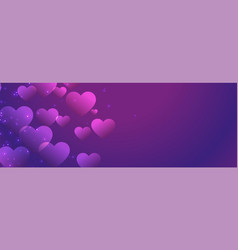 purple shiny hearts banner with text space vector image