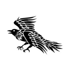 raven flying side tattoo vector image