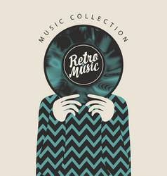 Retro music vinyl record in hands a man vector