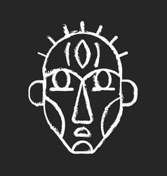 Ritual masks chalk white icon on black background vector