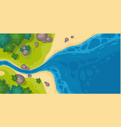 River flow into sea or pond top view scenic stream vector