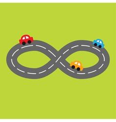 road infinity sign and three cartoon cars vector image
