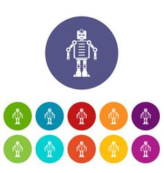 robot icons set flat vector image