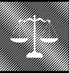Scales balance sign icon hole in moire vector