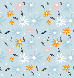 seamless pattern with flowersbranches creative vector image