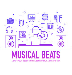 set dj sound and lighting suppliers line icons vector image