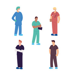 Set healthcare workers male doctors and nurses vector