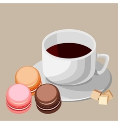 Set Multi-colored macaroons and white cup vector