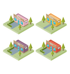 Set of buildings bar store pizza cafe isometric vector