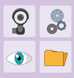 set of security system icons vector image