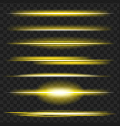 Set of yellow glowing light effect isolated on vector