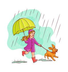 Sketh teen girl walking umbrella rain dog vector