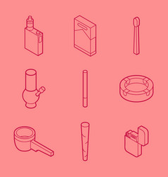 Smoking flat outline isometric set vector