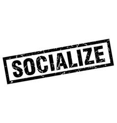 Square grunge black socialize stamp vector