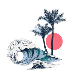 summer poster with sea waves palms and sun vector image
