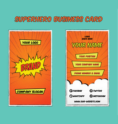 superhero bold business card template vector image