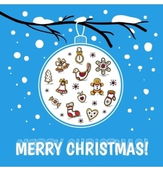 Template of Merry Christmas card with glass ball vector