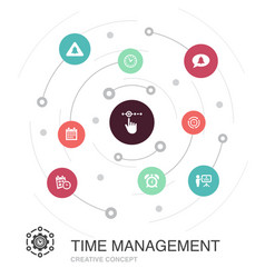 Time management colored circle concept with simple vector