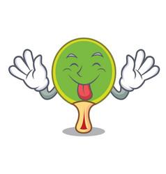 Tongue out ping pong racket mascot cartoon vector