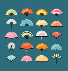 traditional fans set oriental decoration asian vector image