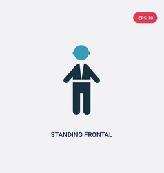 Two color standing frontal man icon from people vector