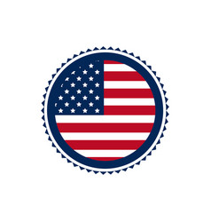 united state of america flag on button border vector image