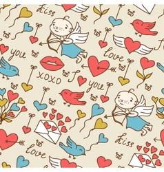 Valentines day lovely seamless texture with cute vector image