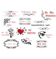 Valentines Day scripts and decorations vector image