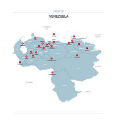 Venezuela map with red pin vector