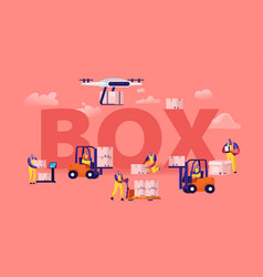 warehouse workers and drones loading boxes concept vector image