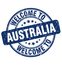 Welcome to australia blue round vintage stamp vector