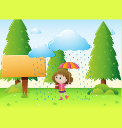 Wooden sign template with girl in the rain vector