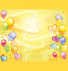 Yellow background with balloons vector