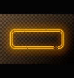 yellow neon rectangle frame template on vector image