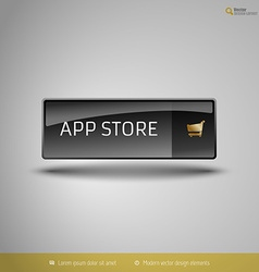 Black Glossy Button vector image