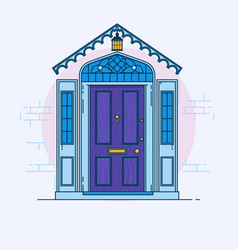 blue front door on the brick wall with lantern vector image vector image