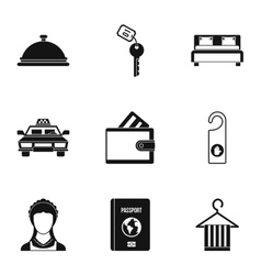 Hostel accommodation icons set simple style vector