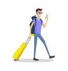 man with luggage makes selfie summer vacation vector image