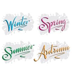season inscription winter spring summer autumn vector image vector image