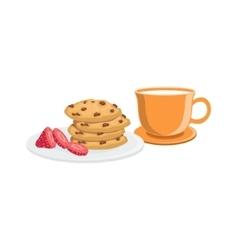 Cookies And Milk Breakfast Food Drink Set vector image