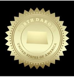 Gold star label North Dakota vector image