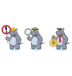 Gray Hippo Mascot with money vector image vector image