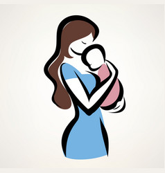 isolated symbol of mom and child vector image vector image