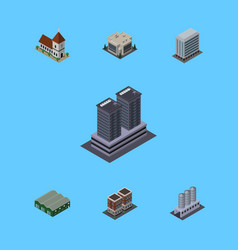isometric architecture set of tower chapel house vector image vector image