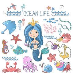 marine life set little cute cartoon vector image